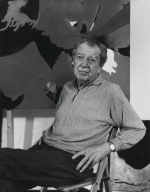 Arthur Mones (American, 1919-1998). <em>James Brooks</em>, 1980. Gelatin silver photograph, image:  13 1/2 x 10 1/2 in.  (34.3 x 26.7 cm);. Brooklyn Museum, Gift of Wayne and Stephanie Mones at the request of their father, Arthur Mones, 2000.89.27. © artist or artist's estate (Photo: Brooklyn Museum, 2000.89.27_PS4.jpg)