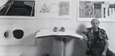 Arthur Mones (American, 1919-1998). <em>James Rosenquist</em>, 1980. Gelatin silver photograph, image:   3/4 x 13 3/8 in.  (17.1 x 34.0 cm);. Brooklyn Museum, Gift of Wayne and Stephanie Mones at the request of their father, Arthur Mones, 2000.89.28. © artist or artist's estate (Photo: Brooklyn Museum, 2000.89.28_PS4.jpg)