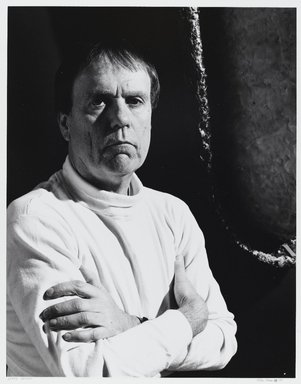 Arthur Mones (American, 1919-1998). <em>Gerry Griffin</em>, 1988. Gelatin silver photograph, image:  10 1/2 x 13 1/2 in.  (26.7 x 34.3 cm);. Brooklyn Museum, Gift of Wayne and Stephanie Mones at the request of their father, Arthur Mones, 2000.89.37. © artist or artist's estate (Photo: Brooklyn Museum, 2000.89.37_PS4.jpg)