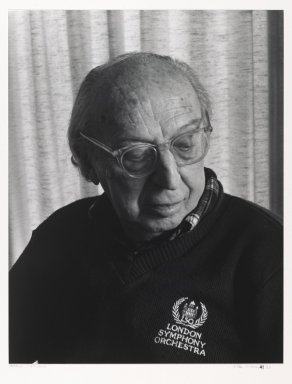 Arthur Mones (American, 1919-1998). <em>Aaron Copeland</em>, 1983. Gelatin silver photograph, image:  13 1/2 x 10 1/2 in.  (34.3 x 26.7 cm);. Brooklyn Museum, Gift of Wayne and Stephanie Mones at the request of their father, Arthur Mones, 2000.89.38. © artist or artist's estate (Photo: Brooklyn Museum, 2000.89.38_PS6.jpg)