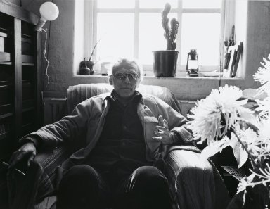 Arthur Mones (American, 1919-1998). <em>Joel Oppenheimer</em>, 1980. Gelatin silver photograph, image:  10 1/2 x 13 1/2 in.  (26.7 x 34.3 cm);. Brooklyn Museum, Gift of Wayne and Stephanie Mones at the request of their father, Arthur Mones, 2000.89.3. © artist or artist's estate (Photo: Brooklyn Museum, 2000.89.3_PS4.jpg)