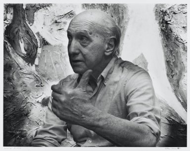 Arthur Mones (American, 1919-1998). <em>George Meneil</em>, 1983. Gelatin silver photograph, image:  10 1/2 x 13 1/2 in.  (26.7 x 34.3 cm);. Brooklyn Museum, Gift of Wayne and Stephanie Mones at the request of their father, Arthur Mones, 2000.89.46. © artist or artist's estate (Photo: Brooklyn Museum, 2000.89.46_PS4.jpg)