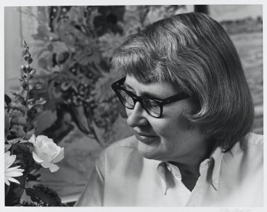 Arthur Mones (American, 1919-1998). <em>Nell Blaine</em>, 1981. Gelatin silver photograph, image:  10 1/2 x 13 1/2 in.  (26.7 x 34.3 cm);. Brooklyn Museum, Gift of Wayne and Stephanie Mones at the request of their father, Arthur Mones, 2000.89.47. © artist or artist's estate (Photo: Brooklyn Museum, 2000.89.47_PS4.jpg)