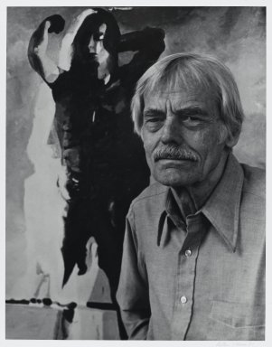 Arthur Mones (American, 1919-1998). <em>Balcomb Greene</em>, 1981. Gelatin silver photograph, image:  13 1/2 x 10 1/2 in.  (34.3 x 26.7 cm);. Brooklyn Museum, Gift of Wayne and Stephanie Mones at the request of their father, Arthur Mones, 2000.89.49. © artist or artist's estate (Photo: Brooklyn Museum, 2000.89.49_PS4.jpg)