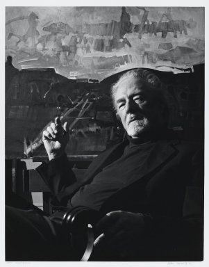 Arthur Mones (American, 1919-1998). <em>John Hultberg</em>, 1993. Gelatin silver photograph, image:  13 1/2 x 10 1/2 in.  (34.3 x 26.7 cm);. Brooklyn Museum, Gift of Wayne and Stephanie Mones at the request of their father, Arthur Mones, 2000.89.50. © artist or artist's estate (Photo: Brooklyn Museum, 2000.89.50_PS4.jpg)