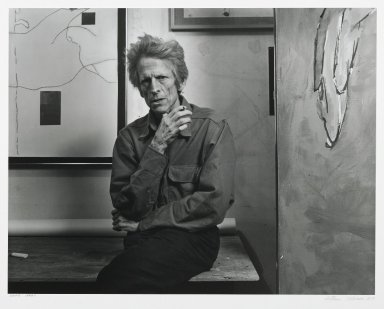 Arthur Mones (American, 1919-1998). <em>David Hare</em>, 1980. Gelatin silver photograph, image:  10 1/2 x 13 1/2 in.  (26.7 x 34.3 cm);. Brooklyn Museum, Gift of Wayne and Stephanie Mones at the request of their father, Arthur Mones, 2000.89.55. © artist or artist's estate (Photo: Brooklyn Museum, 2000.89.55_PS6.jpg)