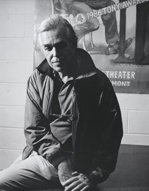 Arthur Mones (American, 1919-1998). <em>John Guare</em>, 1992. Gelatin silver photograph, image:  13 1/2 x 10 1/2 in.  (34.3 x 26.7 cm);. Brooklyn Museum, Gift of Wayne and Stephanie Mones at the request of their father, Arthur Mones, 2000.89.5. © artist or artist's estate (Photo: Brooklyn Museum, 2000.89.5_PS4.jpg)