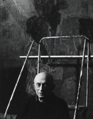 Arthur Mones (American, 1919-1998). <em>Leon Golub</em>, 1990. Gelatin silver photograph, image:  13 1/2 x 10 1/2 in.  (34.3 x 26.7 cm);. Brooklyn Museum, Gift of Wayne and Stephanie Mones at the request of their father, Arthur Mones, 2000.89.65. © artist or artist's estate (Photo: Brooklyn Museum, 2000.89.65_PS4.jpg)