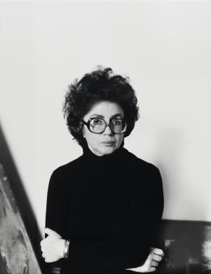 Arthur Mones (American, 1919-1998). <em>Sonia Gechtoff</em>, 1980. Gelatin silver photograph, image:  13 1/2 x 10 1/2 in.  (34.3 x 26.7 cm);. Brooklyn Museum, Gift of Wayne and Stephanie Mones at the request of their father, Arthur Mones, 2000.89.73. © artist or artist's estate (Photo: Brooklyn Museum, 2000.89.73_PS4.jpg)