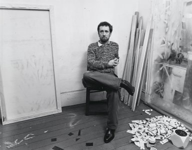 Arthur Mones (American, 1919-1998). <em>John Perrault</em>, 1981. Gelatin silver photograph, image:  10 1/2 x 13 1/2 in.  (26.7 x 34.3 cm);. Brooklyn Museum, Gift of Wayne and Stephanie Mones at the request of their father, Arthur Mones, 2000.89.7. © artist or artist's estate (Photo: Brooklyn Museum, 2000.89.7_PS4.jpg)