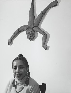 Arthur Mones (American, 1919-1998). <em>Camille Billops</em>, 1989. Gelatin silver photograph, image:  13 1/2 x 10 1/2 in.  (34.3 x 26.7 cm);. Brooklyn Museum, Gift of Wayne and Stephanie Mones at the request of their father, Arthur Mones, 2000.89.85. © artist or artist's estate (Photo: Brooklyn Museum, 2000.89.85_PS4.jpg)