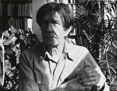 Arthur Mones (American, 1919-1998). <em>John Cage</em>, 1983. Gelatin silver photograph, image:  10 1/2 x 13 1/2 in.  (26.7 x 34.3 cm);. Brooklyn Museum, Gift of Wayne and Stephanie Mones at the request of their father, Arthur Mones, 2000.89.8. © artist or artist's estate (Photo: Brooklyn Museum, 2000.89.8_PS4.jpg)