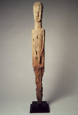 Konso artist. <em>Waga Grave Marker</em>, 19th century. Wood, metal, 52 1/2 x 6 1/2 x 3 1/4 in.  (133.4 x 16.5 x 8.3 cm). Brooklyn Museum, Gift of Serge and Jodie Becker-Patterson, 2000.94.4. Creative Commons-BY (Photo: Brooklyn Museum, 2000.94.4.jpg)