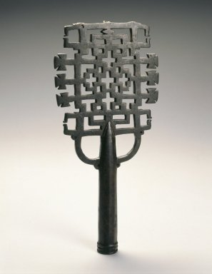 Amhara artist. <em>Processional Cross (qäqwami mäsqäl)</em>, 13th or 14th century. Copper alloy, 10 x 4 3/4 x 1 in.  (25.4 x 12.1 x 2.5 cm). Brooklyn Museum, Gift of Eric Goode, 2000.95.1. Creative Commons-BY (Photo: Brooklyn Museum, 2000.95.1_SL1.jpg)