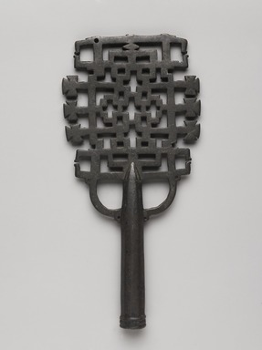 Amhara artist. <em>Processional Cross (qäqwami mäsqäl)</em>, 13th or 14th century. Copper alloy, 10 x 4 3/4 x 1 in.  (25.4 x 12.1 x 2.5 cm). Brooklyn Museum, Gift of Eric Goode, 2000.95.1. Creative Commons-BY (Photo: , 2000.95.1_front_PS9.jpg)
