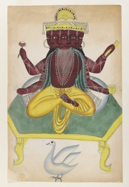 <em>Brahma</em>, late 19th-early 20th century. Watercolors on paper with polished tin accents, 16 x 10 1/4 in.  (40.6 x 26.0 cm). Brooklyn Museum, Gift of Dr. Bertram H. Schaffner, 2000.98.2 (Photo: Brooklyn Museum, 2000.98.2_IMLS_PS4.jpg)