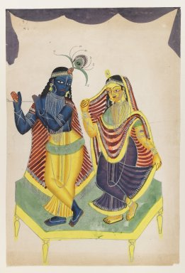 <em>Krishna and Radha</em>, late 19th-early 20th century. Watercolors on paper with polished tin accents, 16 x 10 1/2 in.  (40.6 x 26.7 cm). Brooklyn Museum, Gift of Dr. Bertram H. Schaffner, 2000.98.3 (Photo: Brooklyn Museum, 2000.98.3_IMLS_PS4.jpg)