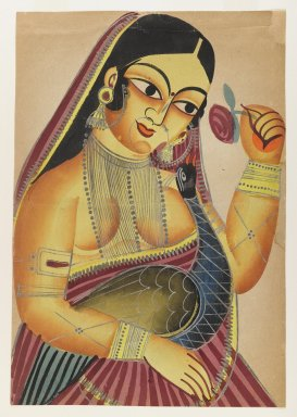 <em>Goddess Lakshmi with a Rose and a Peacock</em>, late 19th-early 20th century. Watercolors on paper with polished tin accents, 16 x 11 in.  (40.6 x 27.9 cm). Brooklyn Museum, Gift of Dr. Bertram H. Schaffner, 2000.98.4 (Photo: Brooklyn Museum, 2000.98.4_IMLS_PS4.jpg)