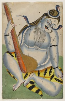 <em>Shiva, Lord of Music</em>, late 19th-early 20th century. Watercolor on paper, tin, 17 1/4 x 11 1/8 in.  (43.8 x 28.3 cm). Brooklyn Museum, Gift of Dr. Bertram H. Schaffner, 2000.98.5 (Photo: Brooklyn Museum, 2000.98.5_IMLS_PS4.jpg)