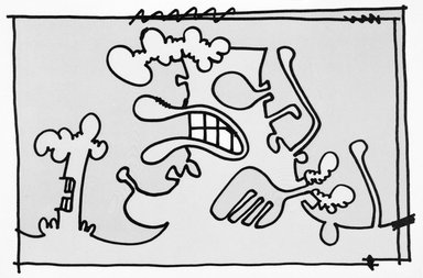 Carroll Dunham (American, born 1949). <em>[Untitled]</em>, 2000. Lithograph, 17 3/16 x 13 6/16 in.  (43.7 x 34.0 cm). Brooklyn Museum, Emily Winthrop Miles Fund, 2001.1.10. © artist or artist's estate (Photo: Brooklyn Museum, 2001.1.10_bw.jpg)