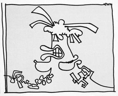 Carroll Dunham (American, born 1949). <em>[Untitled]</em>, 2000. Lithograph, 17 3/16 x 13 6/16 in.  (43.7 x 34.0 cm). Brooklyn Museum, Emily Winthrop Miles Fund, 2001.1.7. © artist or artist's estate (Photo: Brooklyn Museum, 2001.1.7_bw.jpg)