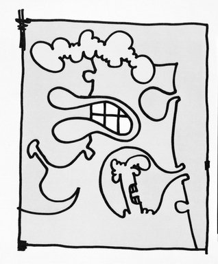 Carroll Dunham (American, born 1949). <em>[Untitled]</em>, 2000. Lithograph, 17 3/16 x 13 6/16 in.  (43.7 x 34.0 cm). Brooklyn Museum, Emily Winthrop Miles Fund, 2001.1.9. © artist or artist's estate (Photo: Brooklyn Museum, 2001.1.9_bw.jpg)