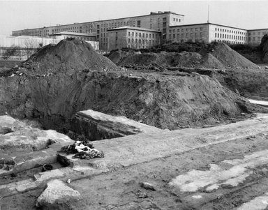Richard Edelman (American, born 1951). <em>Ruins of Gestapo Headquarters with Roses, Berlin</em>, 1986. Gelatin silver photograph, Image: 17 x 21 5/8 in. Brooklyn Museum, Gift of the artist, 2001.108. © artist or artist's estate (Photo: Brooklyn Museum, 2001.108_bw.jpg)