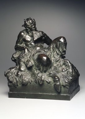Mahonri M. Young (American, 1877-1957). <em>Piper at the Gates of Dawn</em>, ca. 1916. Bronze, 12 7/16 x 11 x 7 1/2 in., 16.4 lb. (31.6 x 27.9 x 19.1 cm, 7.4kg). Brooklyn Museum, Gift of Henry Steinway Ziegler, 2001.120. Creative Commons-BY (Photo: Brooklyn Museum, 2001.120_transp5375.jpg)