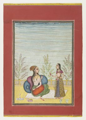 Attributed to Ruknuddin or a follower. <em>Woman and Attendant</em>, ca. 1700-1710. Opaque watercolor, gold, Overall: 8 3/4 x 6 in.  (22.2 x 15.3 cm);. Brooklyn Museum, Gift of Dr. Bertram H. Schaffner, 2001.124 (Photo: Brooklyn Museum, 2001.124_IMLS_PS4.jpg)