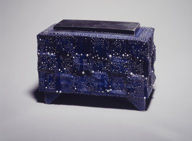 Kondo Takahiro (Japanese, born 1958). <em>Incense Burner with Silver Cover</em>, 2001. Porcelain with cobalt glaze and overglaze decoration, 3 3/4 x 5 3/4 x 2 3/8 in.  (9.5 x 14.6 x 6.0 cm). Brooklyn Museum, Purchase gift of Dr. and Mrs. Richard Dickes, 2001.30a-b. Creative Commons-BY (Photo: Brooklyn Museum, 2001.30a-b_transp5099.jpg)