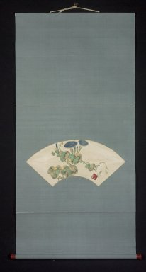 Nakamura Hochu (Japanese, died 1819). <em>Morning Glories (Asagao)</em>, late 18th-early 19th century. Hanging scroll, ink, gold, color on paper, Image: 7 1/2 x 20 1/4 in. (19.1 x 51.4 cm). Brooklyn Museum, Purchase gift of Alvin Friedman-Kien Foundation, 2001.32 (Photo: Brooklyn Museum, 2001.32_overall.jpg)