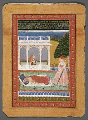 <em>Lalita Ragini</em>, ca. 1750. Opaque watercolors, gold on paper, 11 5/16 x 7 1/4 in.  (28.7 x 18.4 cm). Brooklyn Museum, Gift of Kalesan Natesan, 2001.33 (Photo: Brooklyn Museum, 2001.33_IMLS_SL2.jpg)