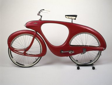 Benjamin G. Bowden (American, born England 1907-1998). <em>Spacelander Bicycle</em>, Prototype designed 1946; Manufactured 1960. Fiberglass, metal, glass, rubber, fox fur, 44 x 77 x 32 in. (111.8 x 195.6 x 81.3 cm). Brooklyn Museum, Marie Bernice Bitzer Fund, 2001.36. Creative Commons-BY (Photo: Brooklyn Museum, 2001.36_SL1.jpg)