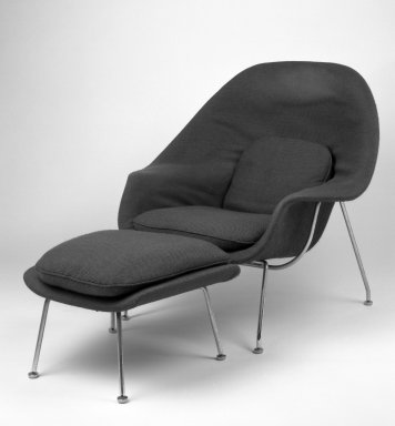 Eero Saarinen (American, born Finland, 1910-1961). <em>Womb Chair Ottoman, Model No. 74</em>, designed 1947-1948, made ca. 1959. Chrome-plated tubular steel, fiberglass, plastic, wood-particle shell, latex foam, upholstery, 16 x 25 1/2 x 20 in. (40.6 x 64.8 x 50.8 cm). Brooklyn Museum, Gift of Sandra Sheppard Rodgers, Gail Sheppard Moloney, Lynn Sheppard Manger, and John W. Sheppard, Jr. from the Estate of their mother, Rose Jackson Sheppard Milbank, by exchange, 2001.37.2. Creative Commons-BY (Photo: , 2001.37.1-2_bw_IMLS.jpg)