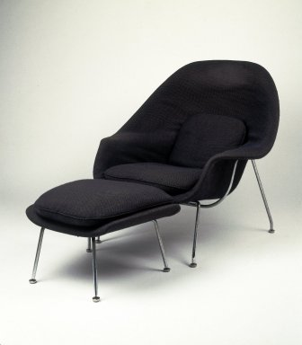 Eero Saarinen (American, born Finland, 1910-1961). <em>Womb Chair, Model No. 70</em>, Designed 1947-1948, Manufactured ca. 1959. Chrome-plated steel, fiberglass, plastic, wood-particle shell, latex foam, original fabric upholstery, 36 x 40 x 34 in.  (91.4 x 101.6 x 86.4 cm). Brooklyn Museum, Gift of Sandra Sheppard Rodgers, Gail Sheppard Moloney, Lynn Sheppard Manger, John W. Sheppard, Jr. from the Estate of their mother, Rose Jackson Sheppard Milbank, by exchange, 2001.37.1. Creative Commons-BY (Photo: Brooklyn Museum, 2001.37.1_IMLS_SL2.jpg)