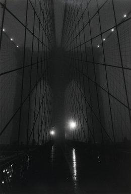 Lynn Saville (American, born 1950). <em>Brooklyn Bridge Fog</em>, 1989. Gelatin silver photograph, 18 x 12 1/4 in. (45.7 x 31.1 cm). Brooklyn Museum, Gift of Margaret Neill, 2001.45. © artist or artist's estate (Photo: Brooklyn Museum, 2001.45_PS2.jpg)
