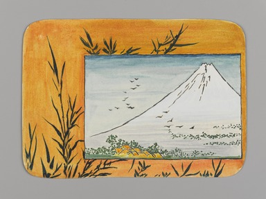 Christopher Grant La Farge (American, 1862-1938). <em>Small Card Decorated with Mount Fuji (recto) and Paint Bowl and Brush (verso)</em>, ca. 1880. Watercolor and black ink on very thin card stock, 3 3/16 x 4 5/16 in. (8 x 11 cm). Brooklyn Museum, Bequest of Christiana C. Burnett, 2001.47.4a-b (Photo: , 2001.47.4a_PS9.jpg)