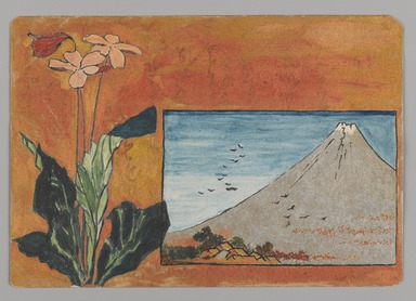 Christopher Grant La Farge (American, 1862-1938). <em>Small Card Decorated with Mount Fuji and Flowers</em>, 1880. Watercolor and metallic paints on one-ply card stock, 3 1/2 x 5 in. (8.9 x 12.7 cm). Brooklyn Museum, Bequest of Christiana C. Burnett, 2001.47.5 (Photo: Brooklyn Museum, 2001.47.5_PS9.jpg)