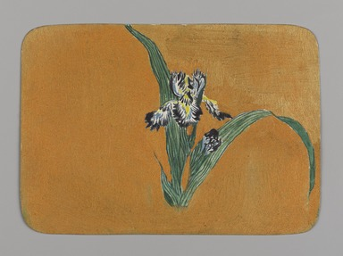 Christopher Grant La Farge (American, 1862-1938). <em>Small Card Decorated with Iris</em>, ca. 1880. Watercolor and metallic ink on very thin card stock, 3 1/16 x 4 1/4 in. (7.8 x 10.8 cm). Brooklyn Museum, Bequest of Christiana C. Burnett, 2001.47.6 (Photo: Brooklyn Museum, 2001.47.6_PS9.jpg)