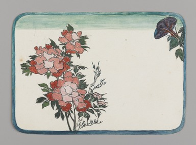 Christopher Grant La Farge (American, 1862-1938). <em>Small Card Decorated with Chrysanthemums and Morning Glory</em>, ca. 1880. Watercolor on very thin card stock, 3 1/16 x 4 5/16 in. (7.8 x 11 cm). Brooklyn Museum, Bequest of Christiana C. Burnett, 2001.47.8 (Photo: , 2001.47.8_PS9.jpg)