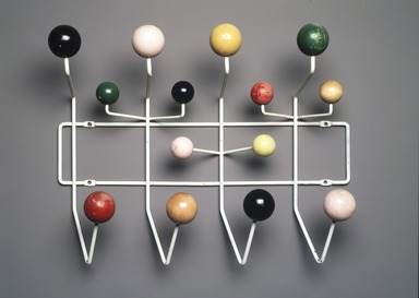 "Charles Eames (American, 1907-1978). <em>""Hang-It-All"" Coat Rack</em>, Designed 1953; Manufactured 1953-1961. Enameled metal, painted wood, 16 x 19 3/4 x 6 1/4 in.  (40.6 x 50.2 x 15.9 cm). Brooklyn Museum, H. Randolph Lever Fund, 2001.50. Creative Commons-BY (Photo: Brooklyn Museum, 2001.50_transp4963.jpg)"