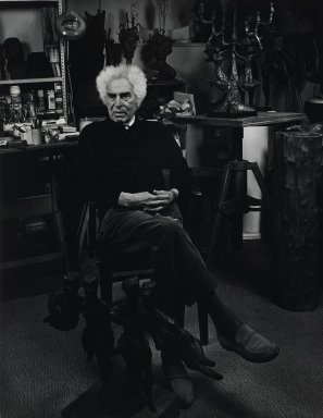 Arthur Mones (American, 1919-1998). <em>Chaim Gross</em>. Gelatin silver photograph, 13 1/2 x 10 7/16 in. Brooklyn Museum, Gift of Wayne and Stephanie Mones at the request of their father, Arthur Mones, 2001.76.1. © artist or artist's estate (Photo: Brooklyn Museum, 2001.76.1_PS4.jpg)