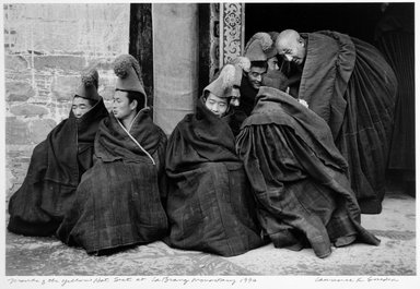 Larry Snider. <em>Monks of the Yellow Hat Sect at La Brang Monastery</em>, 1990. Gelatin silver photograph, sheet: 16 x 20 in. (40.6 x 20.0 cm). Brooklyn Museum, Gift of the artist, 2001.78.3. © artist or artist's estate (Photo: Brooklyn Museum, 2001.78.3_bw.jpg)