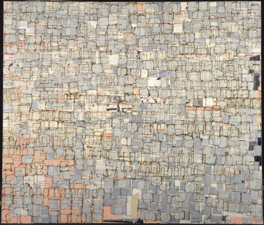 Mark Bradford (American, born 1961). <em>Jheri Now, Curl Later</em>, 2001. Mixed media on canvas, 72 x 84 in. (182.9 x 213.4 cm). Brooklyn Museum, Gift of the Contemporary Art Council and purchased with funds given by Dr. and Mrs. Philip J. Kozinn, 2001.85. © artist or artist's estate (Photo: Brooklyn Museum, 2001.85_SL1.jpg)