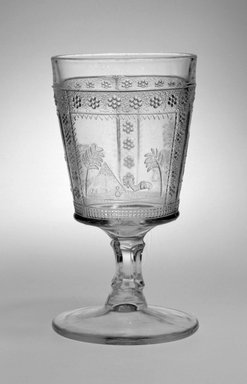 <em>Goblet</em>. Colorless pressed glass, height: 6 1/8 in.  (15.6 cm); diameter: 3 1/4 in. (8.3 cm). Brooklyn Museum, Gift of Joseph V. Garry, 2001.89. Creative Commons-BY (Photo: Brooklyn Museum, 2001.89_bw.jpg)