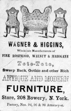 <em>Business Card, Wagner & Higgins</em>, ca. 1855. Printed paper, 3 3/8 x 2 1/8 in.  (8.6 x 5.4 cm). Brooklyn Museum, Alfred T. and Caroline S. Zoebisch Fund, 2001.9.4. Creative Commons-BY (Photo: Brooklyn Museum, 2001.9.4_bw.jpg)