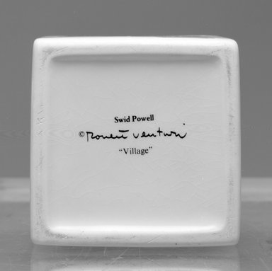 "Robert Venturi (American, 1925-2018). <em>Creamer, ""Village,""</em> ca. 1985. Glazed earthenware, 3 x 7 1/4 x 4 3/8 in. (7.6 x 18.4 x 11.1 cm). Brooklyn Museum, Gift of Rosemarie Haag Bletter and Martin Filler in memory of Steven Izenour, 2001.90.1. Creative Commons-BY (Photo: Brooklyn Museum, 2001.90.2a-b_mark_bw.jpg)"