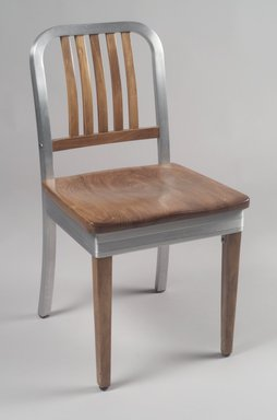 Shaw-Walker Company. <em>Side Chair</em>, ca. 1940. Aluminum, wood, 32 x 17 1/8 x 19 1/2 in. (81.3 x 43.5 x 49.5 cm). Brooklyn Museum, Gift of Fernande Ross, 2001.92. Creative Commons-BY (Photo: Brooklyn Museum, 2001.92.jpg)