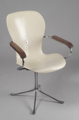 Gideon A. Kramer. <em>Armchair</em>, designed 1962. Fiberglass, chromed metal, wood, plastic, rubber, 34 1/4 x 21 3/4 x 23 1/4 in. (87 x 55.2 x 59.1 cm). Brooklyn Museum, Gift of Vera White Hollander, 2001.93. Creative Commons-BY (Photo: Brooklyn Museum, 2001.93.jpg)