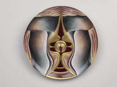 "Judy Chicago (American, born 1939). <em>Boadaceia Place Setting</em>, 1974-1979. Runner:Cotton/linen base fabric, woven interface support material (horsehair, wool, and linen), cotton twill tape, silk, synthetic gold cord, silk thread, handmade wool/felt forms, wool yarn, copper, ""jewels,"" thread